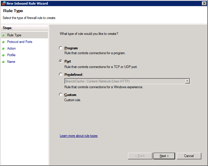 How to open firewall ports on Windows Server 2008 R2 Enterprise - Rule Type