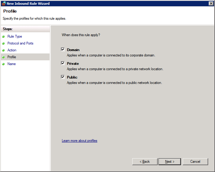 How to open firewall ports on Windows Server 2008 R2 Enterprise - Profile