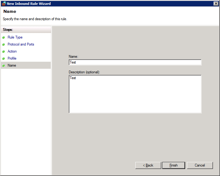 How to open firewall ports on Windows Server 2008 R2 Enterprise - Name