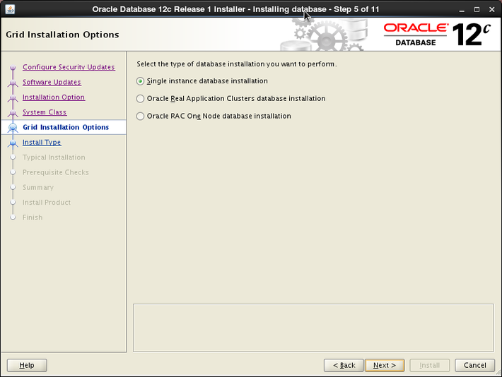 Oracle 12c installation on Oracle Linux release 6 - Grid Installation Option