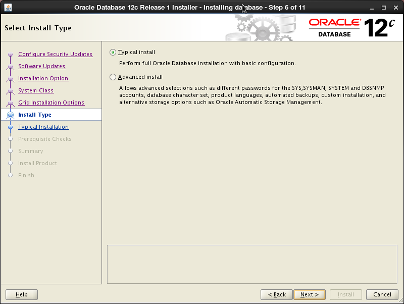 Oracle 12c installation on Oracle Linux release 6 - Select Install Type