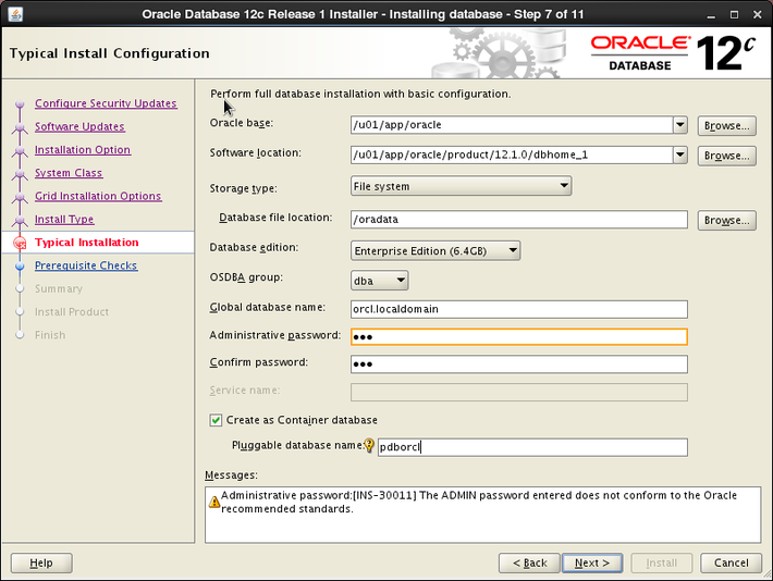 Oracle 12c installation on Oracle Linux release 6 - Typical Install Configuration
