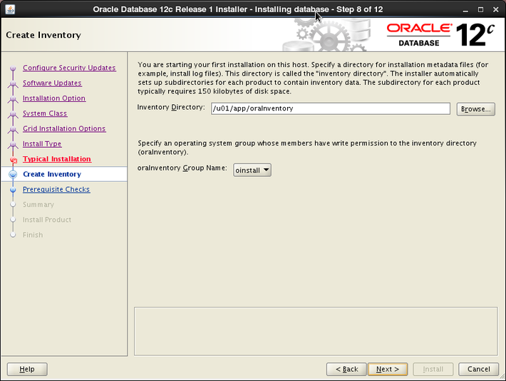 Oracle 12c installation on Oracle Linux release 6 - Create Inventory