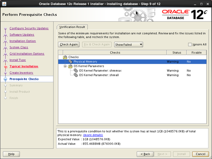 Oracle 12c installation on Oracle Linux release 6 - Performed Prerequisite Check