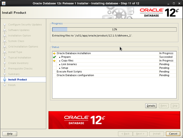 Oracle 12c installation on Oracle Linux release 6 - Install Product