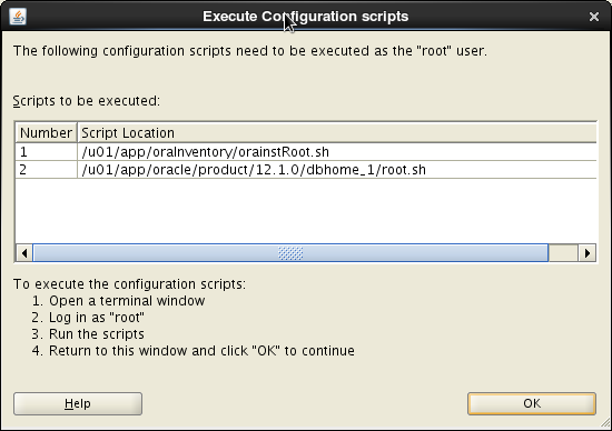 Oracle 12c installation on Oracle Linux release 6 - Execute Configuration Scripts