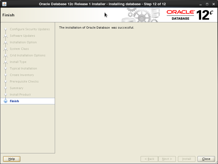 Oracle 12c installation on Oracle Linux release 6 - Finish