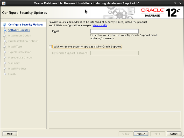 Oracle 12c installation on Oracle Linux release 6 - Configure Security Updates