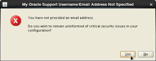 Oracle 12c installation on Oracle Linux release 6 - Email Address Not Specified