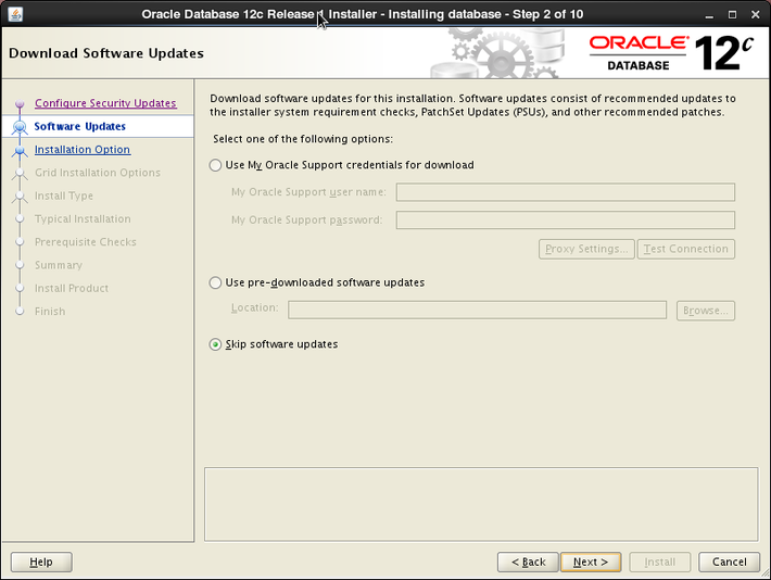 Oracle 12c installation on Oracle Linux release 6 - Download Software Updates