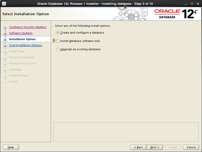 Oracle 12c installation on Oracle Linux release 6 - Select Installation Option