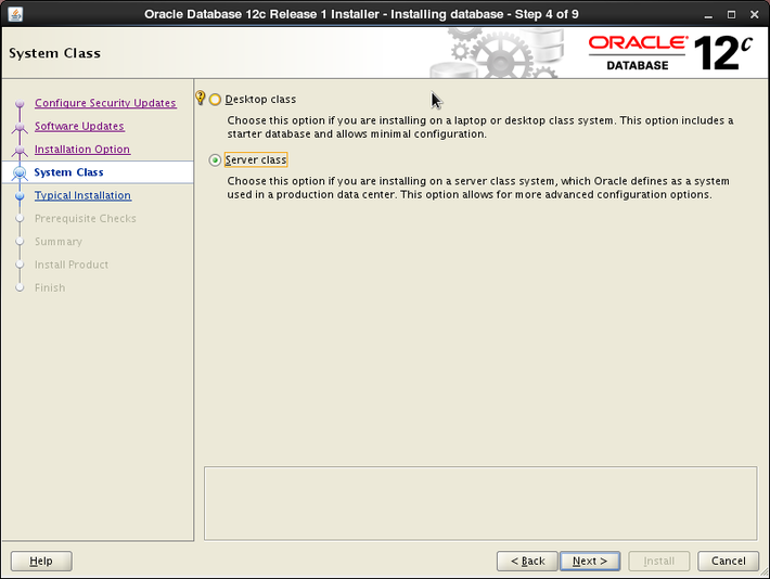 Oracle 12c installation on Oracle Linux release 6 - System Class