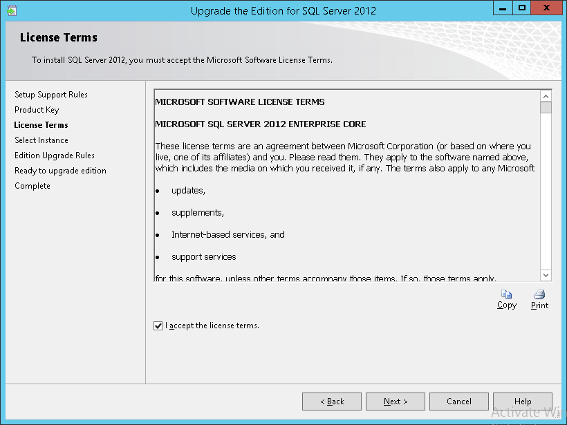 How to apply SQL Server 2012 licenses - License Term