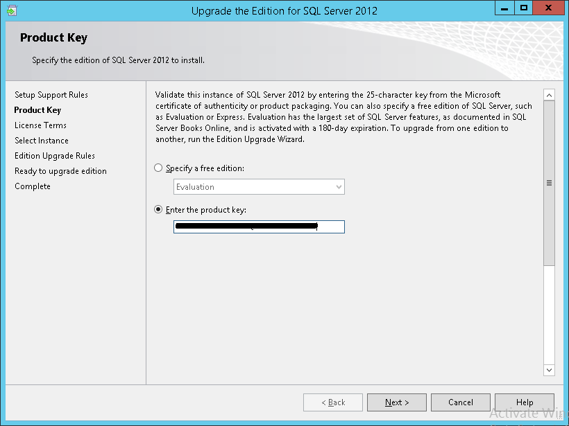 How to apply SQL Server 2012 licenses - Product Key