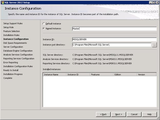 SQL Server 2012 Installation - Instance Configuration