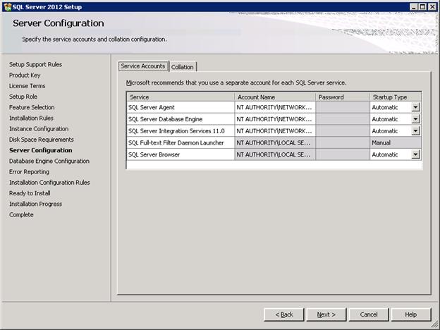 SQL Server 2012 Installation - Server Configuration