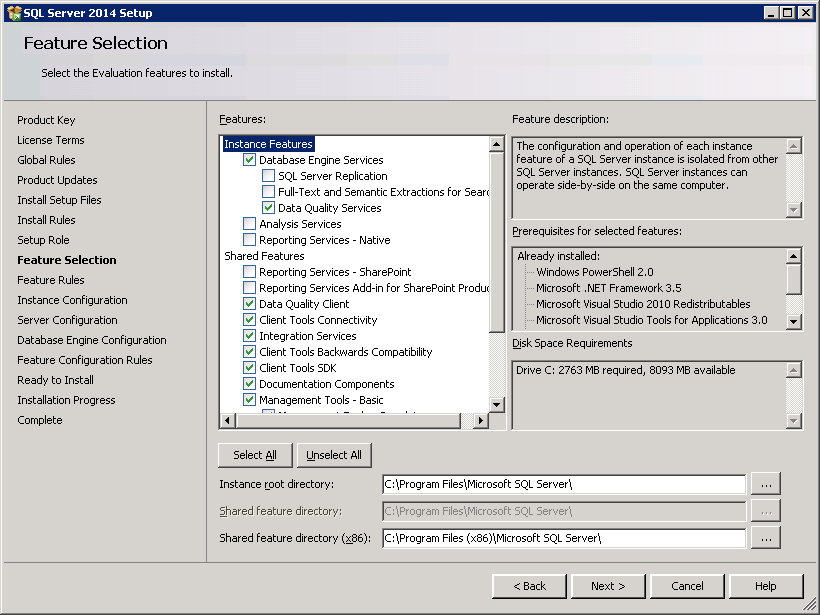 SQL server 2014 stand alone installation - Feature Selection