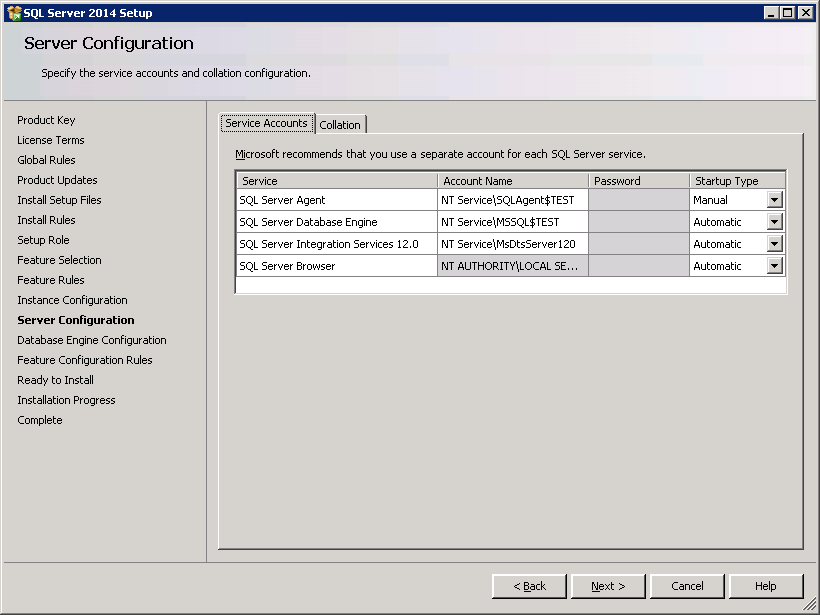 SQL server 2014 stand alone installation - Server Configuration