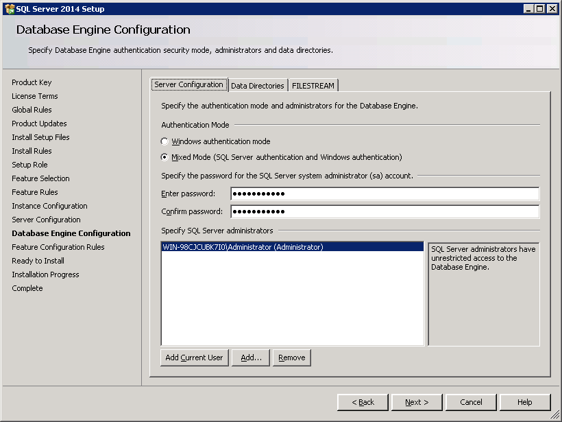 SQL server 2014 stand alone installation - Database Engine Configuration