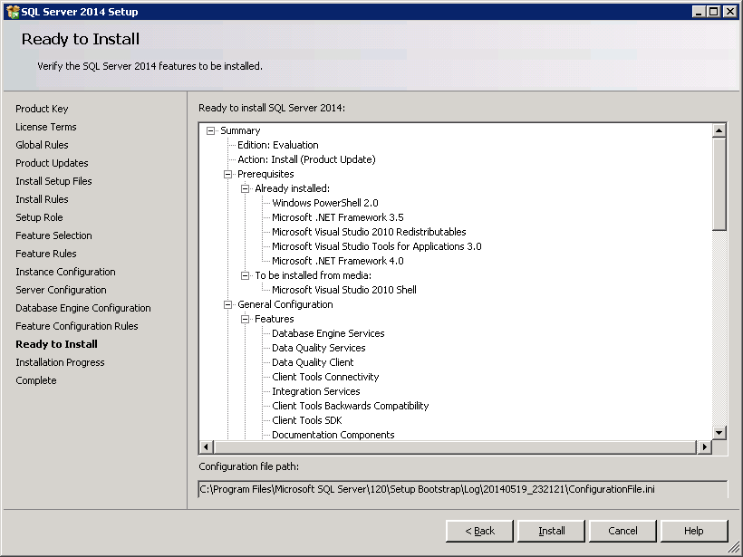 SQL server 2014 stand alone installation - Ready to Install