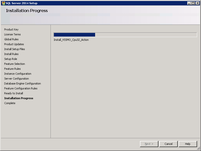 SQL server 2014 stand alone installation - Installation Progress