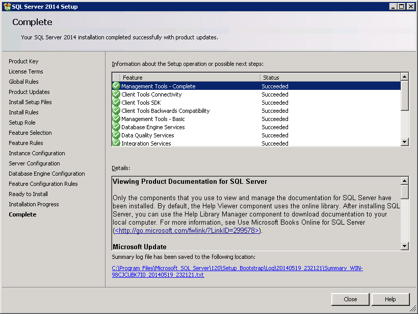 SQL server 2014 stand alone installation