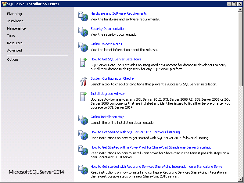 SQL server 2014 stand alone installation - SQL Server Installation Center