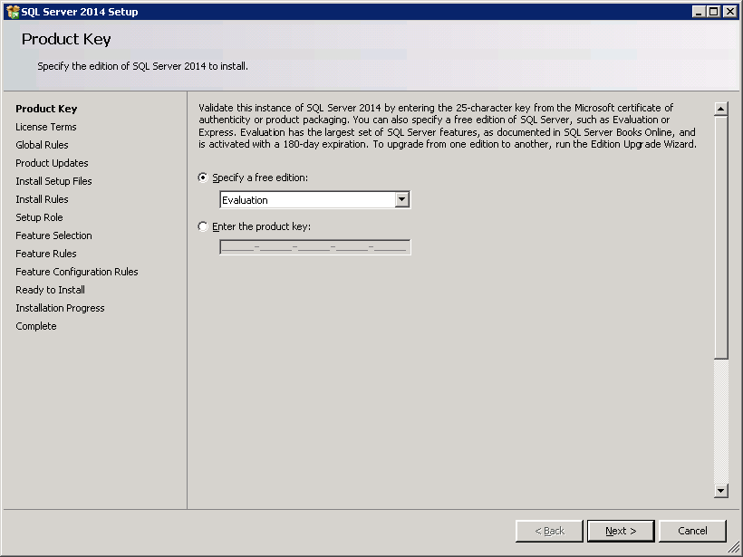 SQL server 2014 stand alone installation - Product Key
