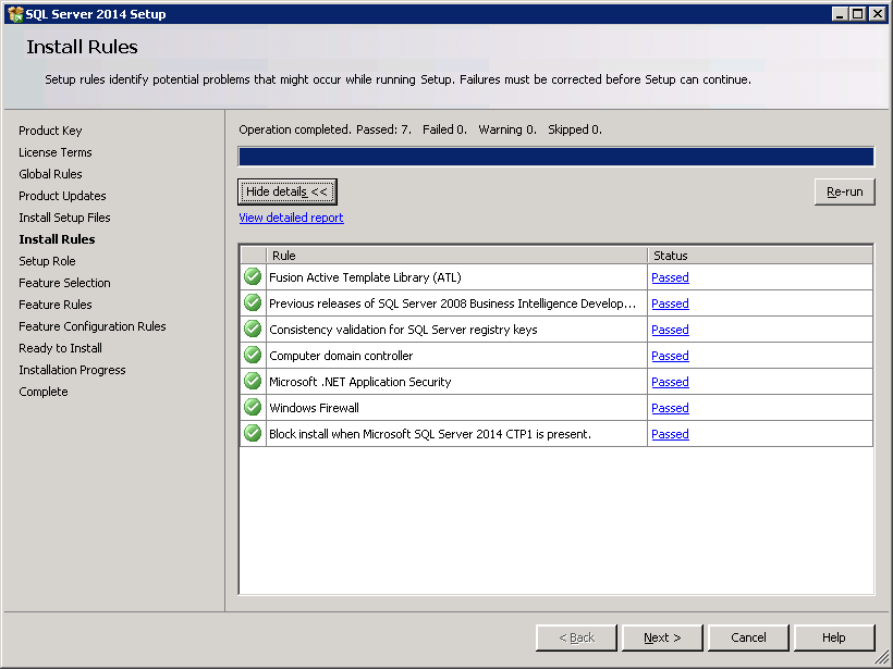 SQL server 2014 stand alone installation - Install Rules