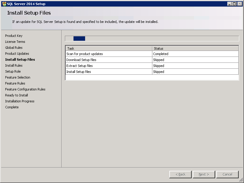 SQL server 2014 stand alone installation - Install Setup Files