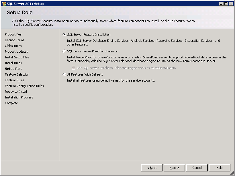SQL server 2014 stand alone installation - Setup Roles
