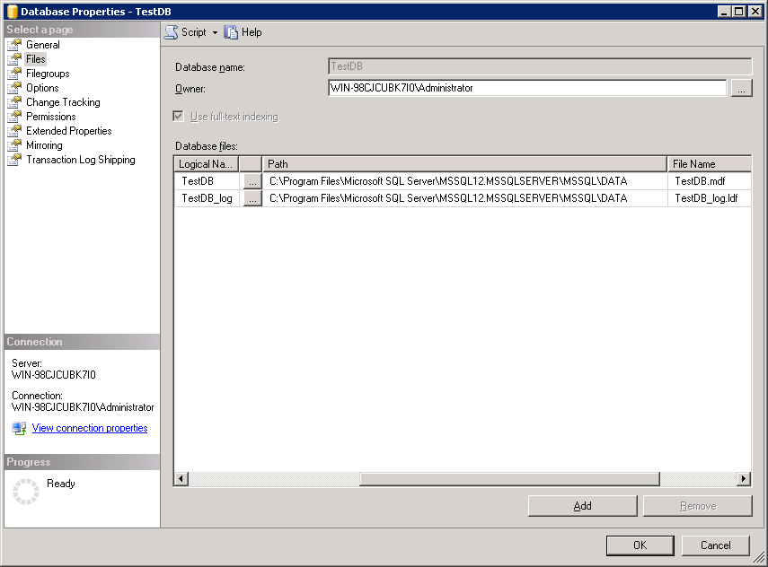 Truncate log file up to 504 KB - Database Properties