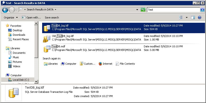 Truncate log file up to 504 KB - New TestDB_log.ldf file created