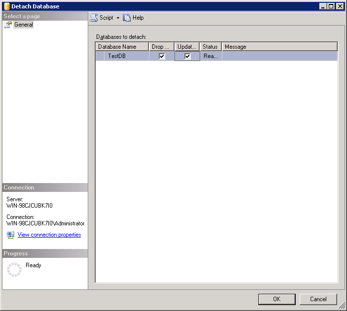 Truncate log file up to 504 KB - Detach Database