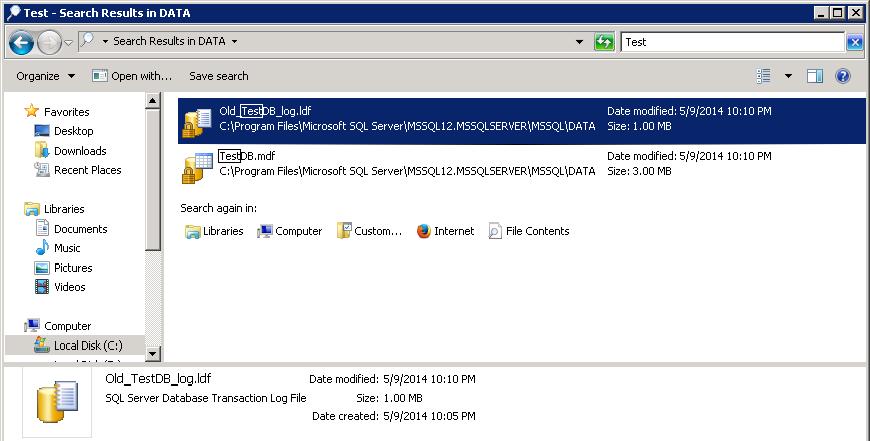 Truncate log file up to 504 KB - Old_TestDB_log.ldf