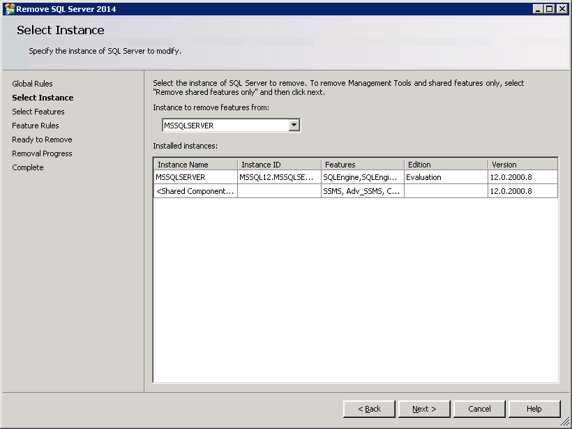 How to uninstall SQL-Server 2014 - Select Instance