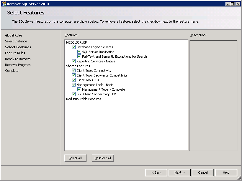 How to uninstall SQL-Server 2014 - Select Features