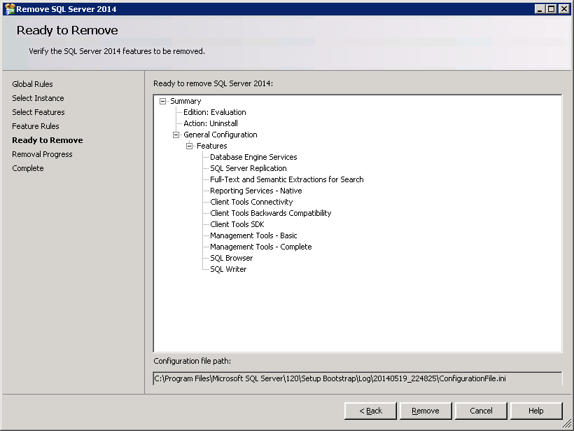 How to uninstall SQL-Server 2014 - Ready to Remove