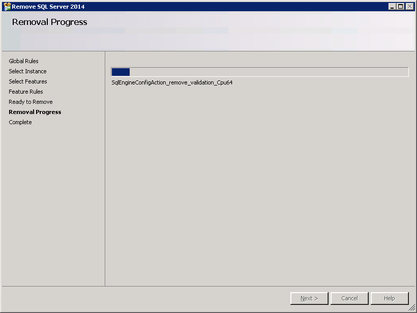 How to uninstall SQL-Server 2014 - Removal Progress
