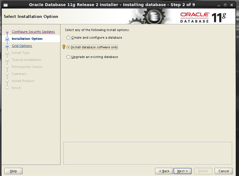 Oracle 11gR2 installation on Oracle Linux 6.5 - Select Installation Option