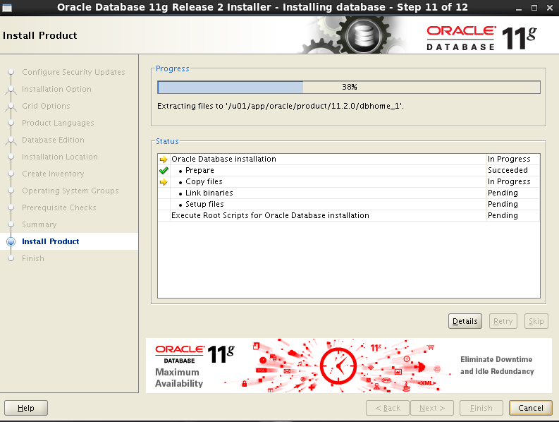 Oracle 11gR2 installation on Oracle Linux 6.5 - Install Product