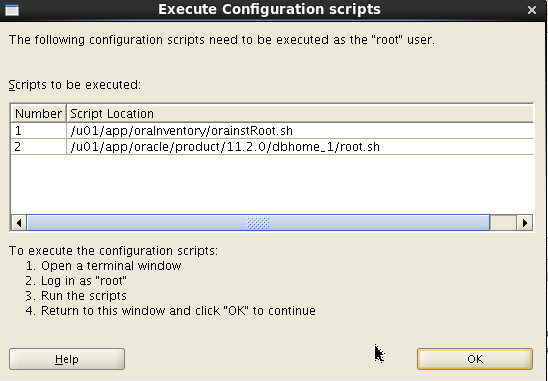 Oracle 11gR2 installation on Oracle Linux 6.5 - Execute Configuration Scripts