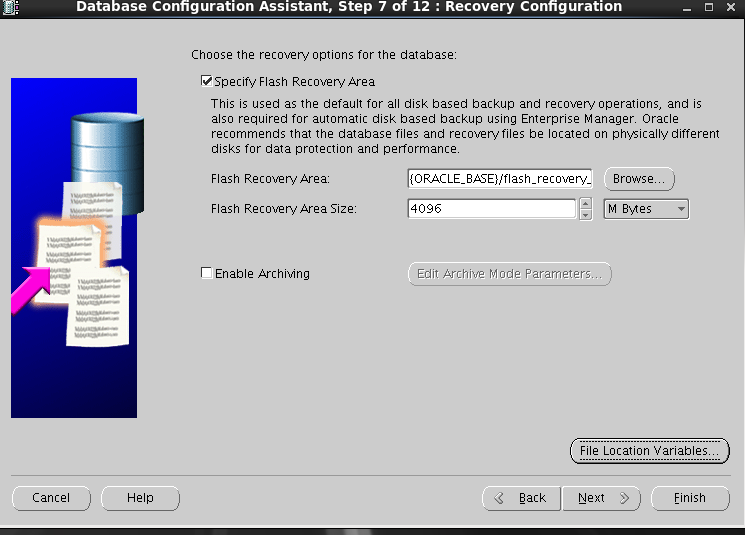 Oracle 11gR2 installation on Oracle Linux 6.5 - Recovery Configuration