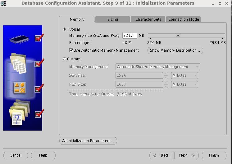 Oracle 11gR2 installation on Oracle Linux 6.5 - Initialization Parameters