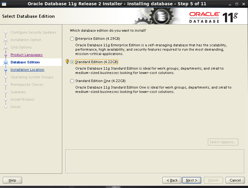 Oracle 11gR2 installation on Oracle Linux 6.5 - Select database edition