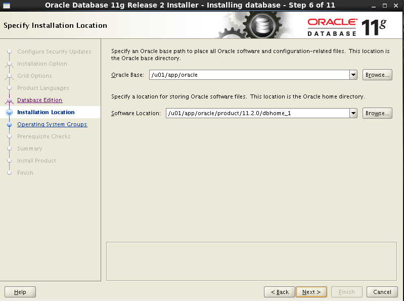 Oracle 11gR2 installation on Oracle Linux 6.5 - specify installation location