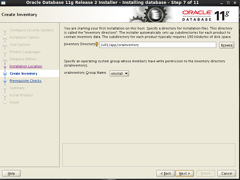 Oracle 11gR2 installation on Oracle Linux 6.5 - Create Inventory
