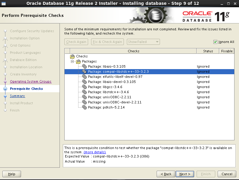 Oracle 11gR2 installation on Oracle Linux 6.5 - Perform Prerequisite Check