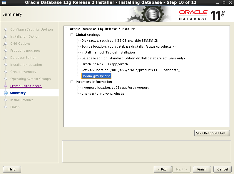 Oracle 11gR2 installation on Oracle Linux 6.5 - Summary