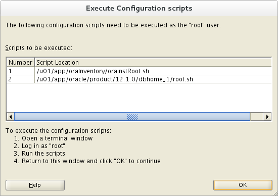 Installation of Oracle 12c on Oracle Linux 7 - Execute Configuration Script